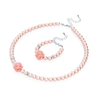 Simulated Pearls Flower Girl Necklace and Bracelet Set