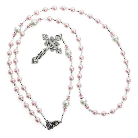 Crystal Dream Luxury Swarovski Element Pearl Rosary Infant Necklace