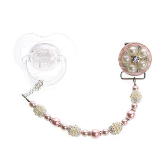 Crystal Dream Elegant Pink and Ivory Vintage Flower Pearls and Beads Keepsake Infant Girl 8-inch Pacifier Clip