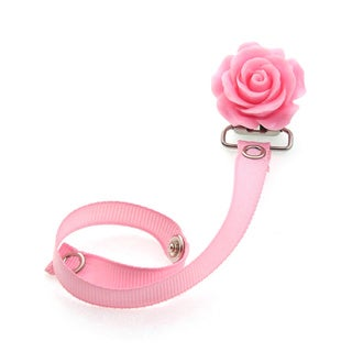 Crystal Dream Luxury Elegant Pink Flower Baby Girl Pacifier Clip with Matching Ribbon
