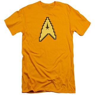Star Trek/8 Bit Command Short Sleeve Adult T-Shirt 30/1 in Gold