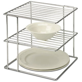 Organize It All 1824 2 Tier Chrome Wire Cabinet Corner Shelf