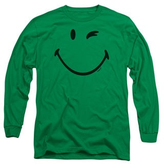 Smiley World/Big Wink Long Sleeve Adult T-Shirt 18/1 in Kelly Green