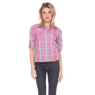 Stanzino Women's Cotton Plaid Button-down Shirt