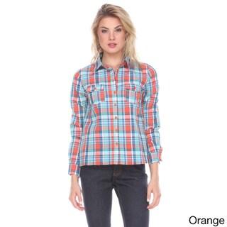 Stanzino Women's Cotton Plaid Button-down Shirt