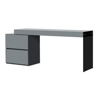 Casabianca Home Il Vetro Collection High Gloss Grey Lacquer Extendable Office Desk