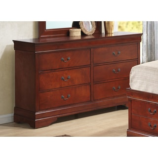 coaster company cherry woodantique brass 6drawer dresser