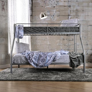 Furniture of America Linden Contemporary Twin XL over Queen Heavy Gauge Metal Bunk Bed