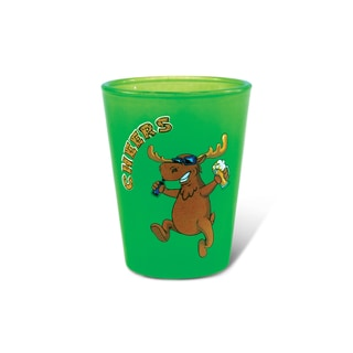 Puzzled Green Neon Moose Shot Glass