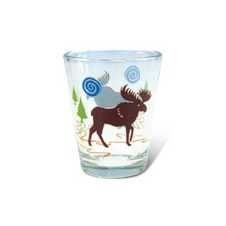 Puzzled Clear Moose Shot Glass