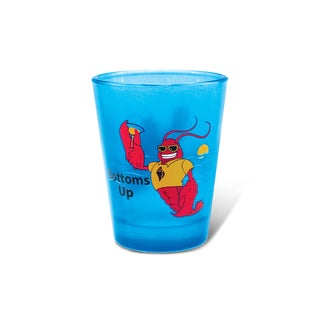 Puzzled Blue Neon Lobster Shot Glass