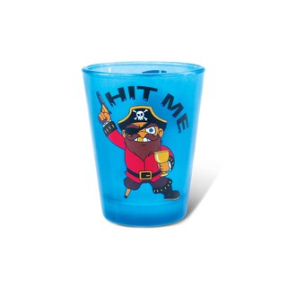 Puzzled Blue Neon Pirate Shot Glass
