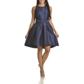 Taylor Women's Embellished Neckline Belted Fit and Flare Dress