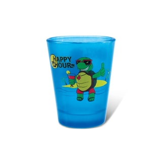 Puzzled Blue Neon Sea Turtle Shot Glass
