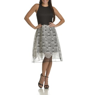Taylor Women's White/Black Polyester/Spandex Embroidered Sheer Overlay Skirt Fit and Flare Dress