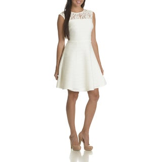 Taylor Women's Illusion White Polyester/Spandex/Cotton/Nylon Lace Neckline Textured Fit and Flare Dress
