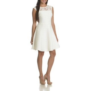 Taylor Women's Illusion White Lace Neckline Textured Fit and Flare Dress
