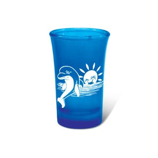 Puzzled Blue Neon Tall Dolphin Shot Glass