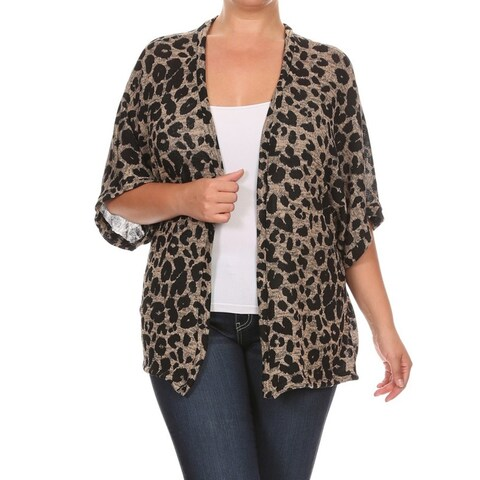 Women's Animal-print Plus-size Cardigan