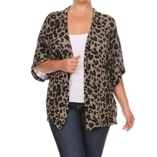 Women's Animal-print Plus-size Cardigan