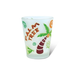 Puzzled Frosted Palm Tree Shot Glass