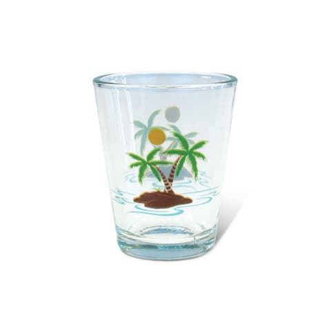 Puzzled Clear Palm Tree Shot Glass