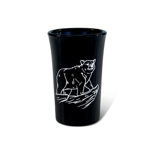 Puzzled Black Tall Black Bear Shot Glass