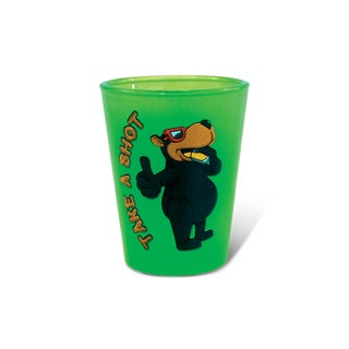 Puzzled Green Neon Black Bear Shot Glass