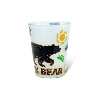 Puzzled Frosted Black Bear Shot Glass