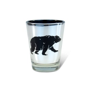 Puzzled Silver Black Bear Shot Glass