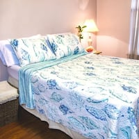Reversible Cambell Shells Blue and White Polyester Quilt 3 Piece Set