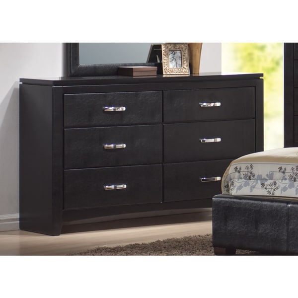 Coaster Company Furniture Dylan Faux Leather 6 Drawers Dresser Black