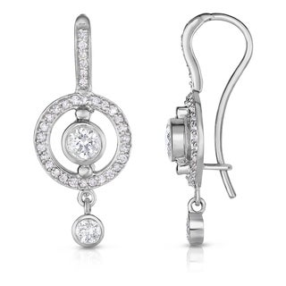 Noray Designs 14k White Gold Bezel-set 7/8ct TDW Diamond Dangle Earrings