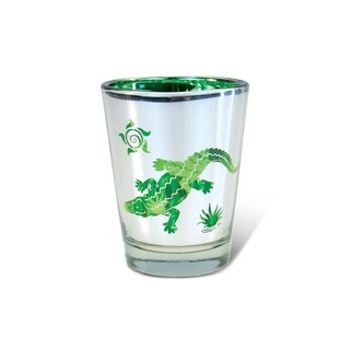 Puzzled Silver Alligator Shot Glass