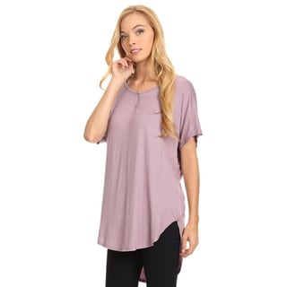 Women's Solid Button Trim Tunic Top