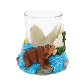 Puzzled Stone Grizzly Bear Shot Glass