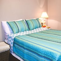Reversible Turquoise Polyester Nautical 3 Quilt Piece Set