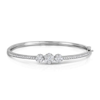 Noray Designs 14k White Gold 1 1/2ct TDW Diamond Cluster Bangle (G-H, SI1-SI2)