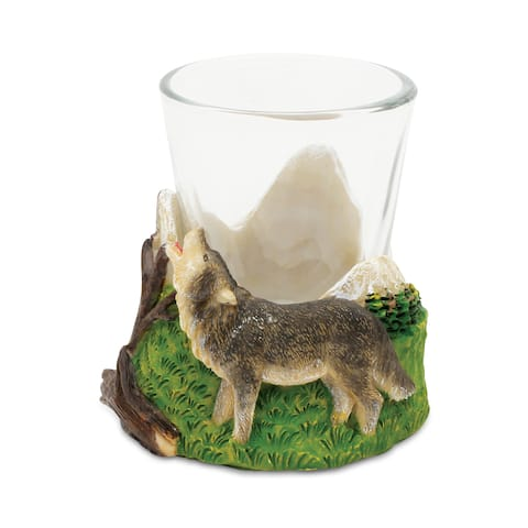 Puzzled Stone Wolf Shot Glass