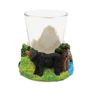 Puzzled Stone Black Bear Shot Glass