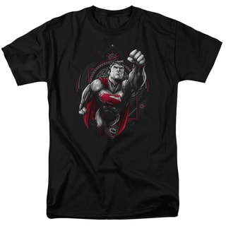 Superman/Propaganda Superman Short Sleeve Adult T-Shirt 18/1 in Black