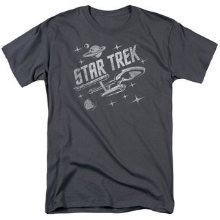 Star Trek/Through Space Short Sleeve Adult T-Shirt 18/1 in Charcoal