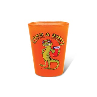 Puzzled Orange Neon Gecko Shot Glass