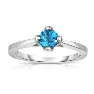 Noray Designs Women's Sterling Silver London Blue Topaz 4-Prong Solitaire Ring