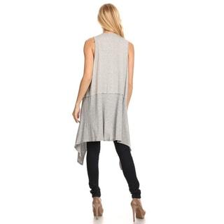 Women's Solid Beige Rayon/Spandex Sleeveless Duster Drape Vest