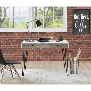 Ameriwood Home Owen White/Sonoma Oak Retro Student Desk