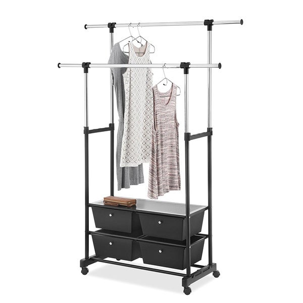 Shop Whitmor Double Garment Rack With Drawers Chrome