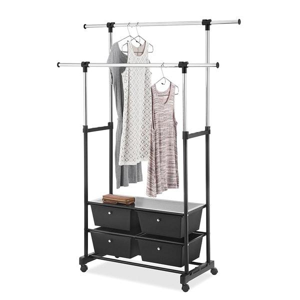 Whitmor Double Garment Rack With Drawers (Chrome/Black)