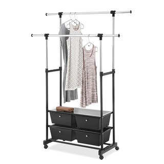 Whitmor Double Garment Rack with Drawers (Chrome/Black)