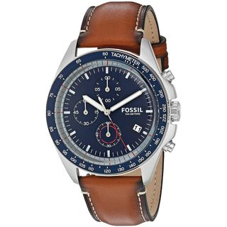 Fossil Men's 'Sport 54' Multi-Function Brown Leather Watch